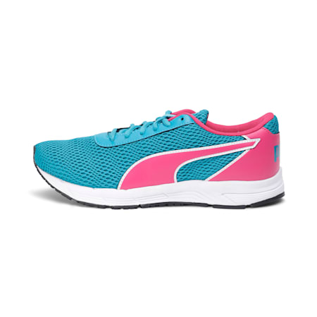 Metal Knit IDP Women's Running Shoes, Purple-Caribbean Sea-White, small-IND