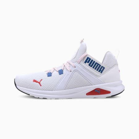 Enzo 2 Geo Men's Running Shoes, White-Palace Blue-Red, small-IND