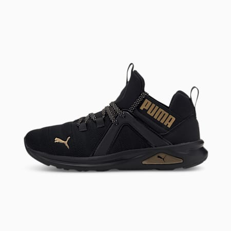 Enzo 2 Metal Women's Running Shoes, Puma Black-Gold, small-IND