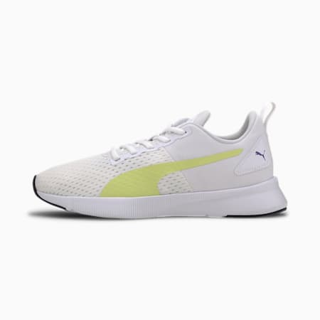 Flyer Runner Sport Shoes, White-Sunny Lime-Purple, small-IND