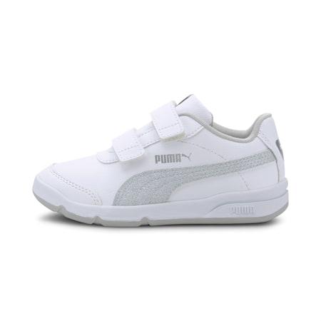 StepFleex2 SLVE Glitz Girls' Shoes, White-Silver-Gray Violet, small-IND