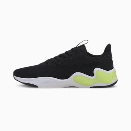 CELL Magma Clean Men's Running Shoes, Black-White-Fizzy Yellow, small-IND