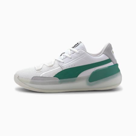 Clyde Hardwood Basketball Shoes, Puma White-Power Green, small