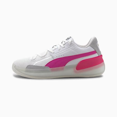 Clyde Hardwood Basketball Shoes, Puma White-Pink Glo, small