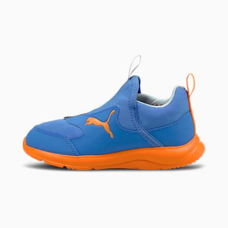 Zapatos sin cordones Fun Racer para niños pequeños, Nebulas Blue-Vibrant Orange, pequeño