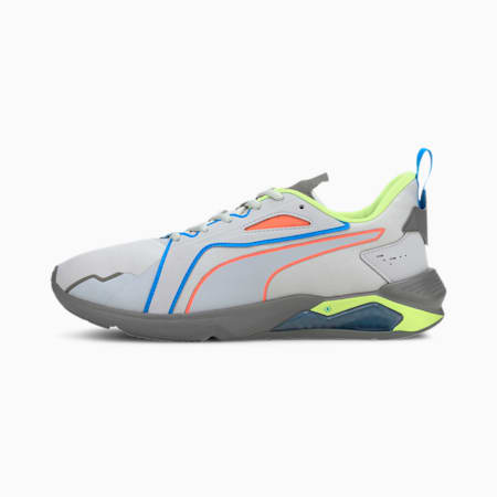 PUMA x FIRST MILE LQDCELL Method Xtreme Men's Training Shoes, Lt Gray-Yellow-Gray-Orange, small-IND