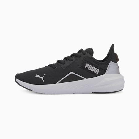 Platinum Women's Training Shoes, Black-White-Metallic Silver, small