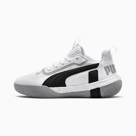 Legacy Low Youth Basketball Shoes, Puma White-Puma Black, small