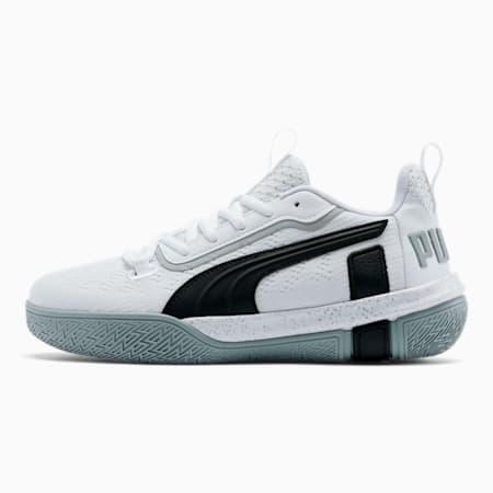Legacy Low Basketball Shoes JR, Puma White-Puma Black, small