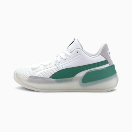 Clyde Hardwood Youth Basketball Shoes, Puma White-Power Green, small