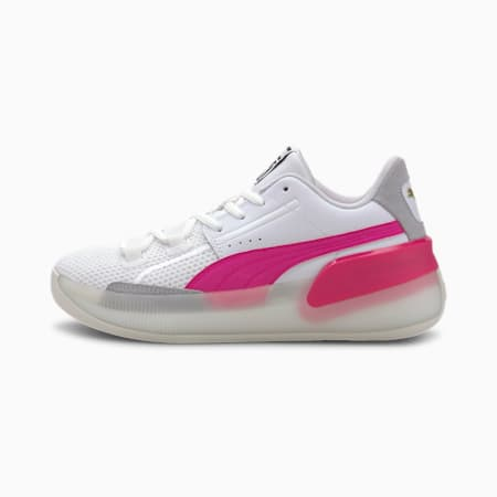 Zapatos para básquetbolClydeHardwood para junior, Puma White-Pink Glo, pequeño