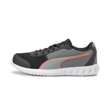 Cario Block Men's Running Shoe, Dark Shadow-Limestone-Orange, small-IND