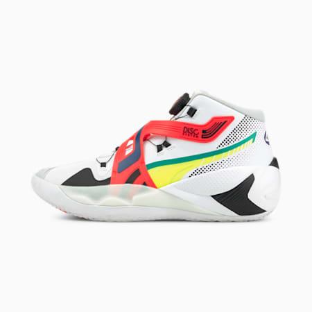 Souliers de basketball DISC Rebirth, blanc Puma-alerte jaune, petit