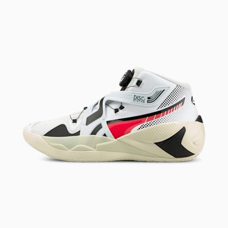 Disc Rebirth Basketball Shoes, Puma White-Fiery Coral, small