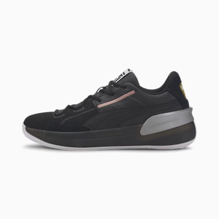 Clyde Hardwood Metallic Basketball Shoes, Puma Black-Puma Silver, small