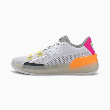 Clyde Hardwood Retro Fantasy Basketball Shoes, Puma White-Orange Pop, small