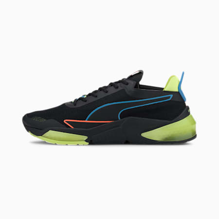 PUMA x FIRST MILE LQDCELL Optic Xtreme hardloopschoenen voor heren, Black-Fizzy Yellow-Nrgy Blue, small