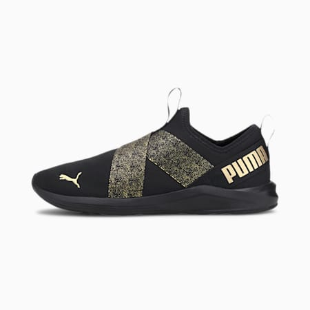 Prowl Slip-On Metallic Women's Shoes, Puma Black-Gold, small-IND