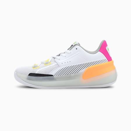 Clyde Hardwood Retro Fantasy Basketball Shoes JR, Puma White-Orange Pop, small