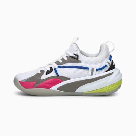 Zapatos de básquetbol RS-DreamerJR, Puma White-Steel Gray-Beetroot Purple, pequeño