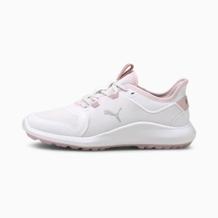 ゴルフ イグナイト FASTEN8 ウィメンズ スパイクレス シューズ, White-Puma Silver-Pink Lady, small-JPN