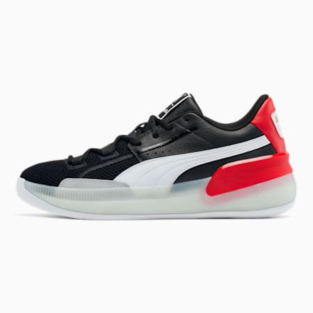 Clyde Hardwood Week of Greatness Basketball Shoes, Puma Black-High Risk Red, small