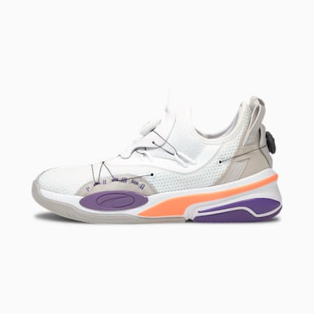 Double Disc Basketball Shoes, Puma White-Ultra Violet, small
