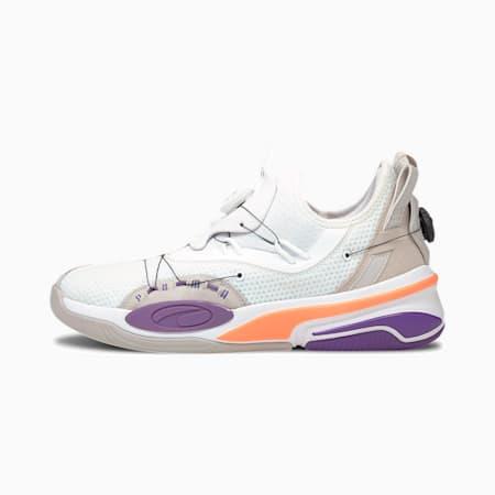 ダブル ディスク ミッドカット バスケットボール シューズ, Puma White-Ultra Violet, small-JPN