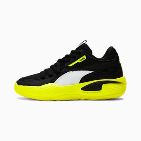 Zapatos para básquetbol Court RiderJR, Puma Black-Yellow Alert, pequeño
