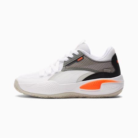 Zapatos para básquetbol Court RiderJR, Puma White-Nrgy Red, pequeño