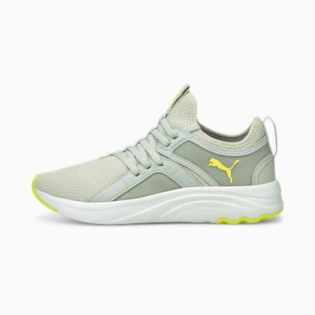 Zapatos para correrSoftRide Sophia para mujer, Gray Violet-Yellow Glow, pequeño