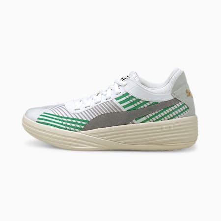 Zapatos para básquetbol Clyde All-Pro JR, Power Green-Puma White, pequeño