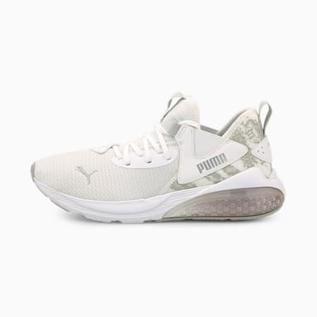 Zapatos de entrenamiento CELL Vive Animal para mujer, White-Silver-Gray Violet, pequeño