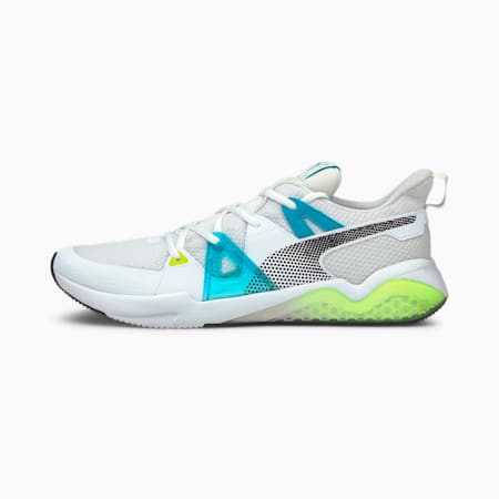 Cell Fraction Fade Men's Running Shoes, Puma White-Scuba Blue-Yellow, small