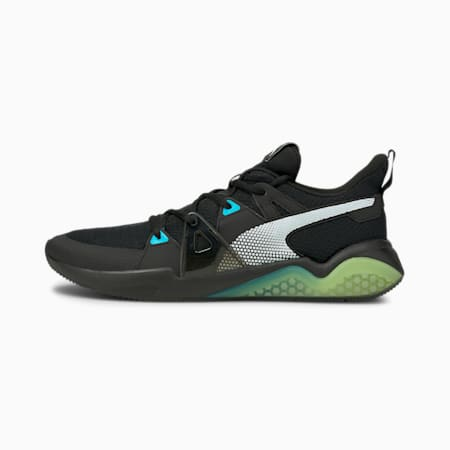Cell Fraction Fade Men's Running Shoes, Puma Black-Scuba Blue-Yellow, small-IND