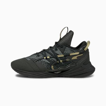 Zapatos para correr Ultra Triller Jacquardpara mujer, Puma Black-Metallic Gold, pequeño