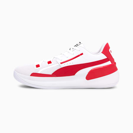 Clyde Hardwood Team Basketball Shoes, Puma White-High Risk Red, small