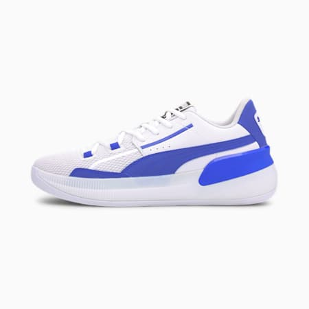 Clyde Hardwood Team Basketball Shoes JR, Puma White-Strong Blue, small