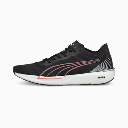Zapatos para correr Liberate NITRO para mujer, Black-White-Elektro Peach, pequeño