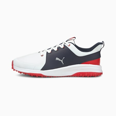 Grip Fusion Pro 3.0 Men's Golf Shoes, White-Silver-Navy Blazer, small-IND