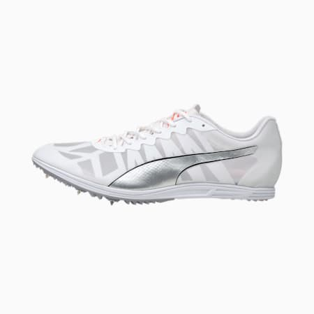 Zapatos con tapones evoSPEED9 Distance para hombre, White-Silver-Lava Blast, pequeño