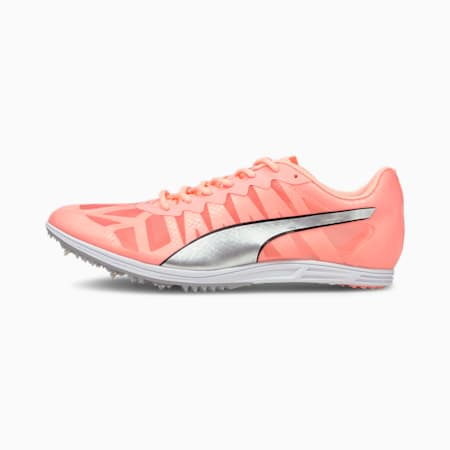 evoSPEED Distance 9 Women's Track and Field Spikes, Elektro Peach-Silver-Black, small-GBR