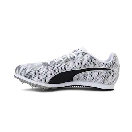 evoSPEED Star 7 Track and Field Youth Spikes, White-Black-Silver, small-IND