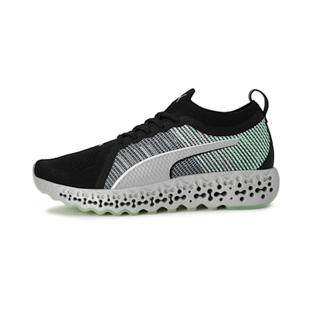 Calibrate XETIC Running Shoes, Puma Black-Elektro Green, small-IND