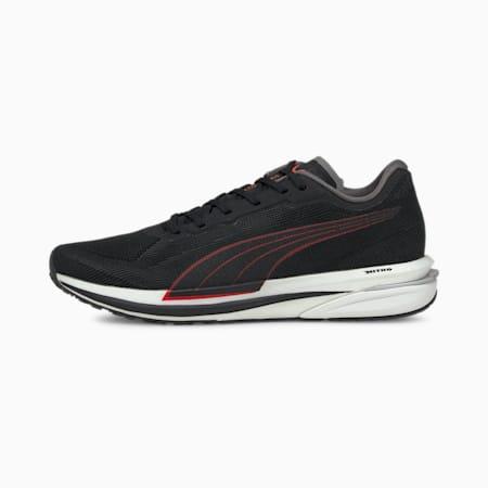 Velocity Nitro Men's Running Shoes, Puma Black-Lava Blast, small-IND