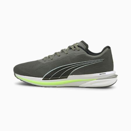 Velocity Nitro Men's Running Shoes, CASTLEROCK-Puma Black-Green Glare, small-IND