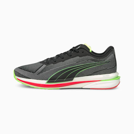 Velocity NITRO Men's Running Shoes, Black-White-Green Glare, small-SEA