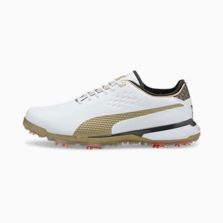 PUMA x PTC PROADAPT Δ Gold Men's Golf Shoes, White-Gold-Black, small