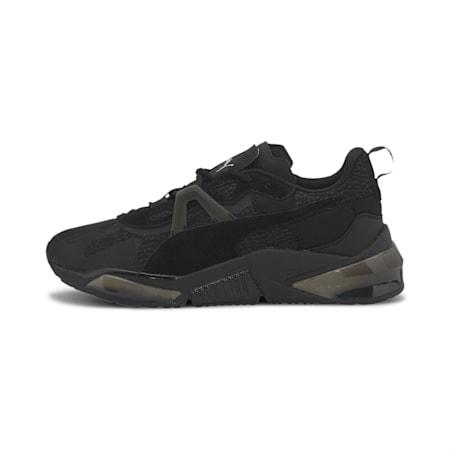Zapatos de entrenamiento PUMA x FIRST MILE LQDCELL Optic Mono JR, Puma Black-Metallic Silver, pequeño
