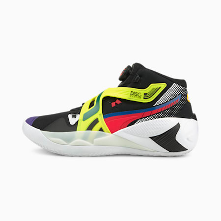 Disc Rebirth Basketball Shoes, Puma Black-Yellow Alert, small-IND